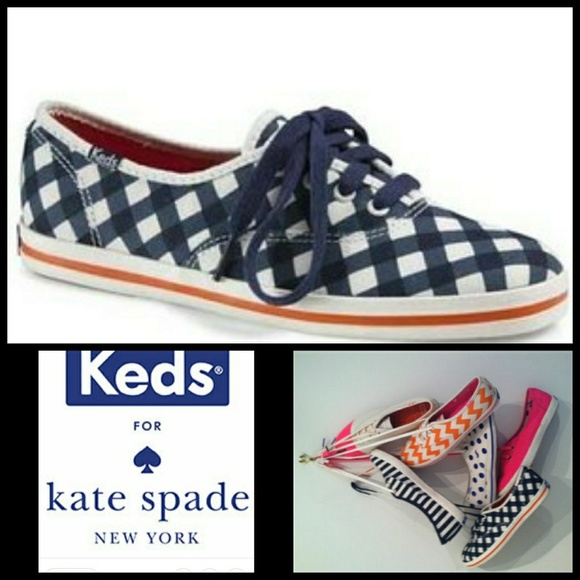 7e0ee50f803 KEDS X KATE SPADE navy gingham champion sneaker. M 5ac5346c5521be6416acdd45